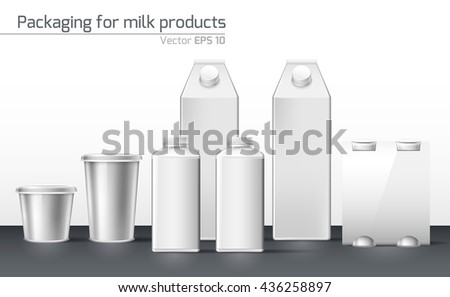 Realistic vector. Set packaging for dairy products. template for design - stock vector