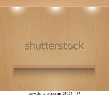Realistic vector shelf on textured wooden background. - stock vector