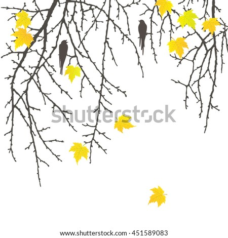 Realistic vector silhouette autumn tree and birds for your design on the white background. Vintage hand drawn illustration with space for text - stock vector