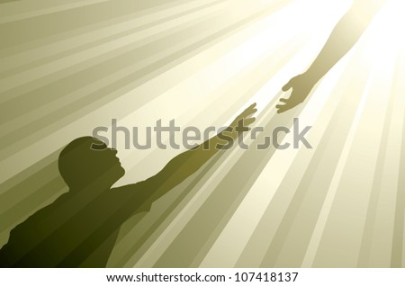 Realistic vector silhouette of a man reaching up to grasp an outstretched hand surrounded by golden rays of light. - stock vector