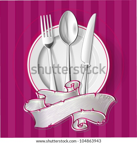 Realistic vector silver spoon, fork and table knife with plates. - stock vector