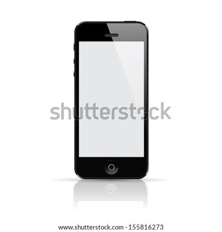 Realistic vector smartphone with reflection. - stock vector