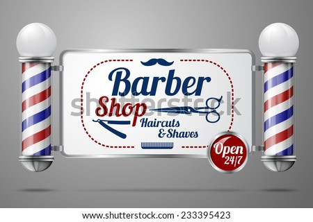 Realistic vector - two old fashioned vintage silver and glass barber shop poles holding Barber Sign. Isolated on grey background, for design and branding.  - stock vector