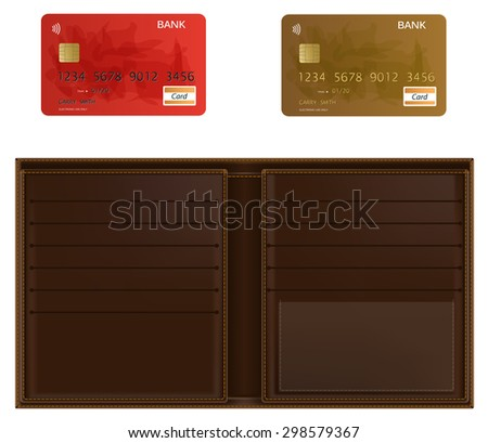 Realistic vector wallet and two bank cards. Isolated in white. - stock vector