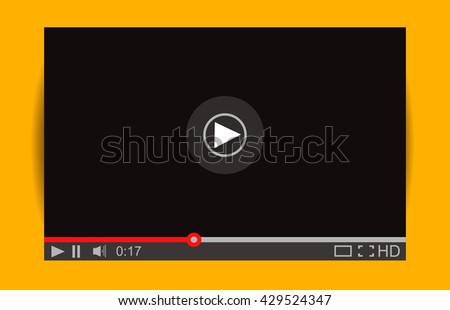 Realistic video player with shadow. Media Player Interface. Vector Illustration. Mock Up for Player - stock vector