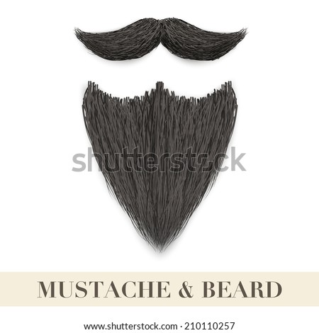 Realistic Vintage Black beard with curly mustache. Vector Illustration isolated on a white background - stock vector