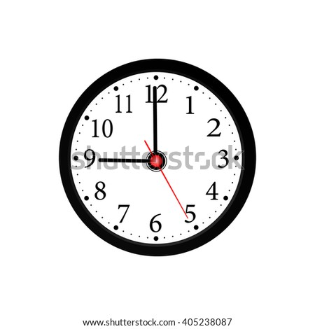 Realistic wall black clock on a white background. vector illustration. - stock vector