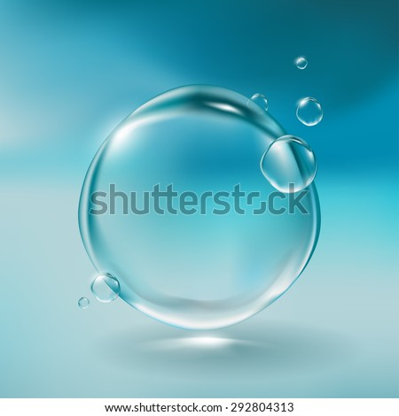 Realistic water bubbles - stock vector