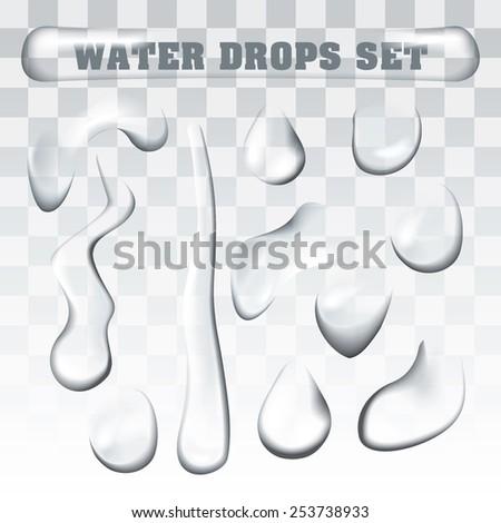 Realistic Water Drops Set - stock vector