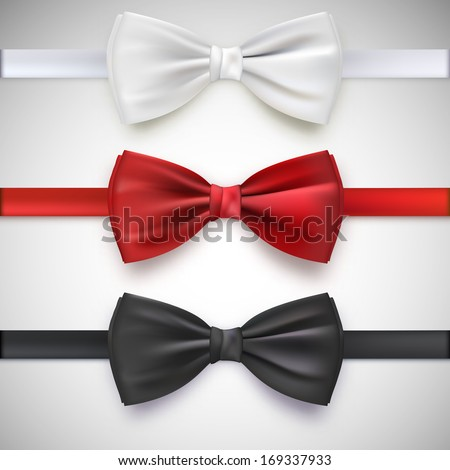 Realistic white, black and red bow tie, vector illustration, isolated on white background - stock vector
