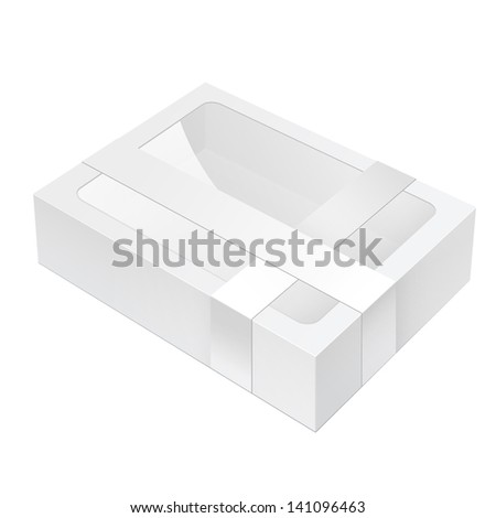 Realistic White Black Package Box lying with a transparent plastic window. - stock vector