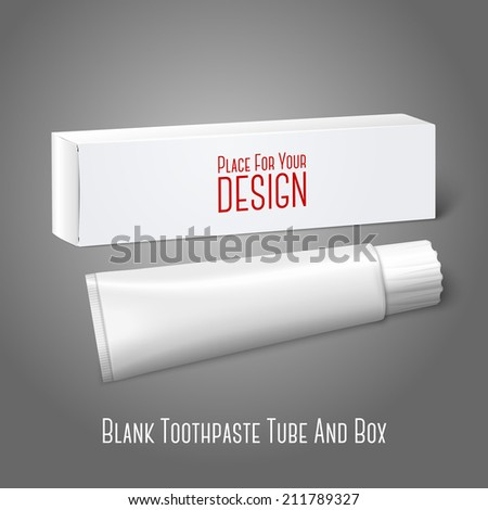 Realistic white blank paper package box with tube for oblong stuff - toothpaste, cosmetics, medicine etc. Isolated on grey background for design and branding. Vector - stock vector