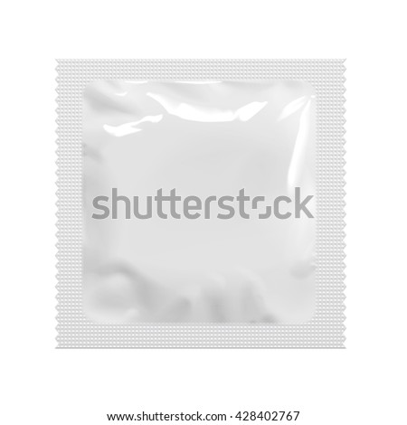 Realistic White Blank template Packaging Foil wet wipes Pouch Medicine Or Condom. Food Packing Coffee, Salt, Sugar, Pepper, Spices, Sweets. Template For Mock up Your Design. vector illustration. - stock vector
