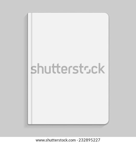 Realistic white copybook with elastic band bookmark. Diary author for office information. Concept design gray planner for college. Closed textbook. Abstract illustration on gray background. Vector - stock vector
