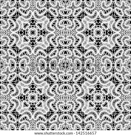 Realistic white lace texture, seamless vector pattern - stock vector