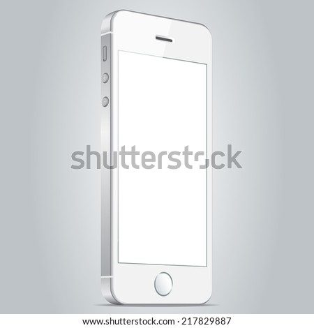 Realistic white mobile phone with blank screen isolated on white background. Modern concept smartphone device with digital display. Vector illustration EPS 10 - stock vector