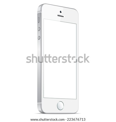 Realistic white mobiles phones with blank screen isolated on white background. Modern concept smartphone device with digital display. Vector illustration EPS 10 - stock vector