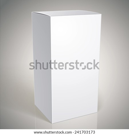 Realistic white package box for products, put your design over the pack in multiply mode, vector illustration. - stock vector