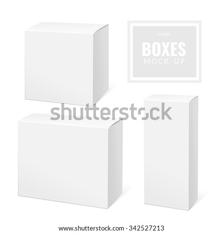 Realistic White Package Box. Template for your design. You can use that packing for  Software, Cosmetics, Electronic Device and Other Products. Vector illustration. - stock vector