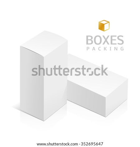 Realistic White Package Box. Template for your design. You can use this packing for Software, Cosmetics, Electronic Device and Other Products. Vector illustration. - stock vector