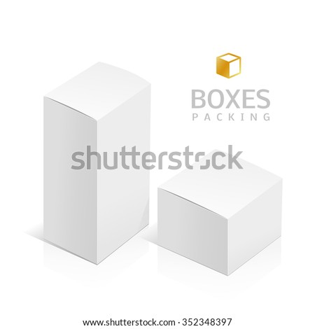 Realistic White Package Box. Template for your design. You can use those packing for Software, Cosmetics, Electronic Device and Other Products. Vector illustration. - stock vector
