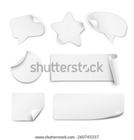 Realistic white paper stickers in shape of circle, star and speech bubble isolated on white background - stock vector