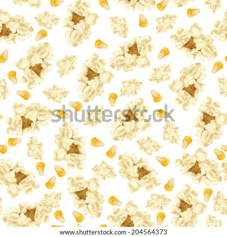 Realistic white popcorn with yellow corn seeds fast food seamless pattern vector illustration - stock vector