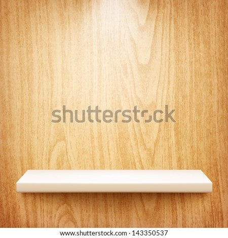 realistic white shelf on wooden wall eps10 - stock vector