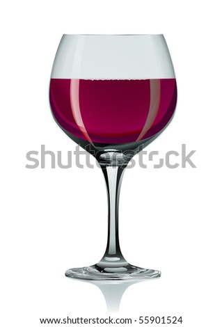 Realistic wineglass and red wine - stock vector