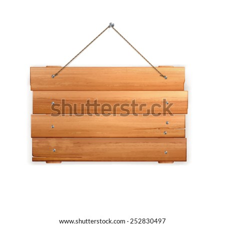 realistic Wooden sign  - stock vector
