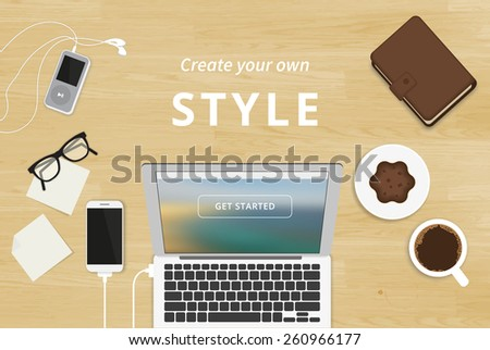 Realistic workplace organization. Top view with textured table, laptop, smartphone, stickers, glasses, diary, mp3 player and coffee mug - stock vector
