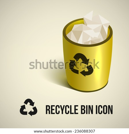 realistic yellow recycle bin icon. Vector illustration.  - stock vector