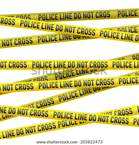 Realistic yellow tape with Police line do not cross text. Illustration on white background  - stock vector
