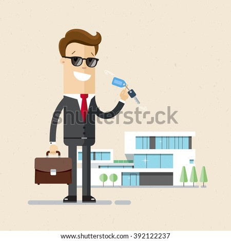Realtor holds a key in hand. Businessman buys flat or house. Flat, illustration, vector - stock vector
