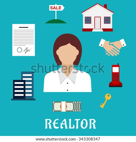 Realtor profession flat icons with woman real estate agent, key, home, apartment house, sale sign, contract, money, handshake and telephone  - stock vector