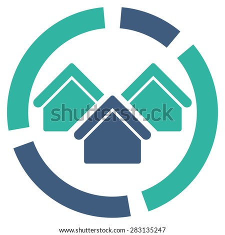 Realty diagram icon from Business Bicolor Set. Vector style: bicolor flat symbol, cobalt and cyan colors, rounded angles, white background. - stock vector