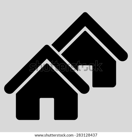 Realty icon from Business Bicolor Set. Vector style: flat symbol, black color, rounded angles, light gray background. - stock vector