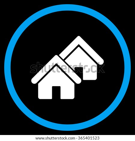 Realty vector icon. Style is bicolor flat circled symbol, blue and white colors, rounded angles, black background. - stock vector
