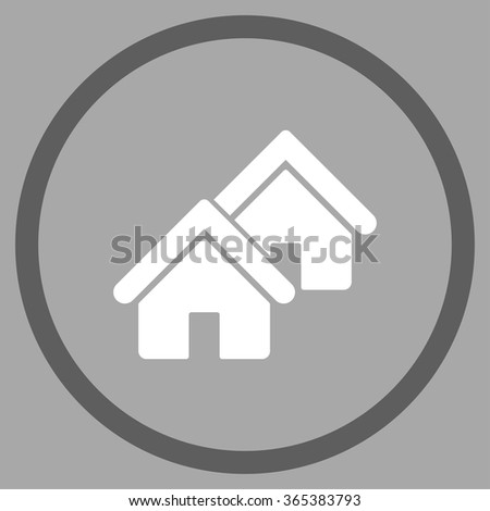 Realty vector icon. Style is bicolor flat circled symbol, dark gray and white colors, rounded angles, silver background. - stock vector