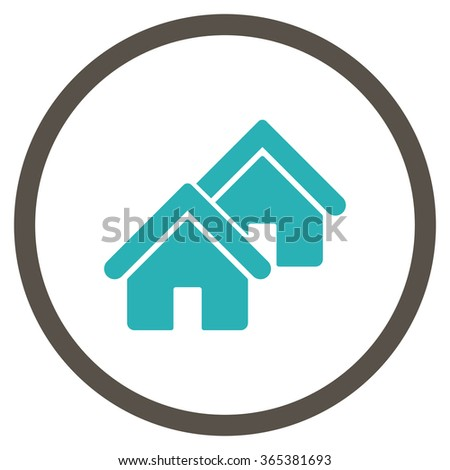 Realty vector icon. Style is bicolor flat circled symbol, grey and cyan colors, rounded angles, white background. - stock vector