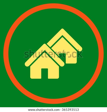 Realty vector icon. Style is bicolor flat circled symbol, orange and yellow colors, rounded angles, green background. - stock vector
