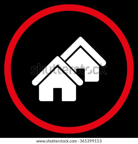 Realty vector icon. Style is bicolor flat circled symbol, red and white colors, rounded angles, black background. - stock vector