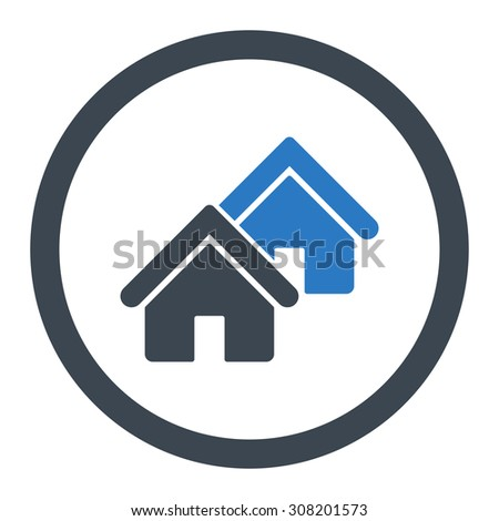 Realty vector icon. This rounded flat symbol is drawn with smooth blue colors on a white background. - stock vector