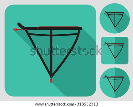 Rear rack icon. Bike accessories. Flat long shadow design. Bicycle icons series. - stock vector