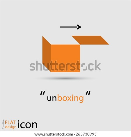 reative 'unboxing' icon design, eps10 Vector. - stock vector