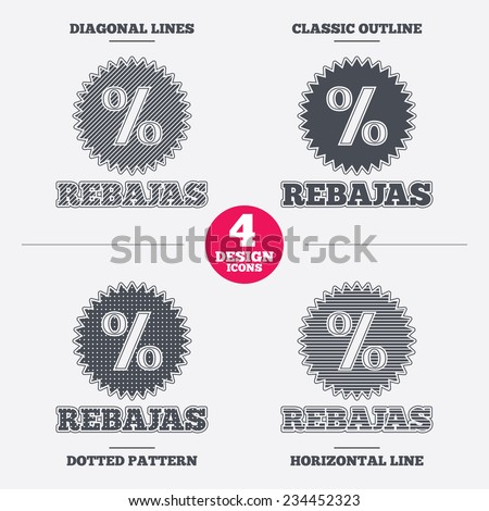 Rebajas - Discounts in Spain sign icon. Star with percentage symbol. Diagonal and horizontal lines, classic outline, dotted texture. Pattern design icons.  Vector - stock vector