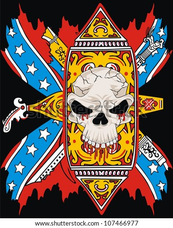 rebel flag and ornament skull - stock vector