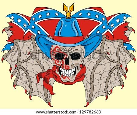 rebel flag and skull - stock vector