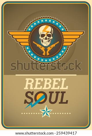 Rebel poster with coat of arms. Vector illustration. - stock vector