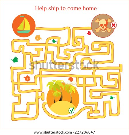 Rebus vector. Funny labyrinth with ship and pirates. Cartoon puzzle. Eps 8 - stock vector